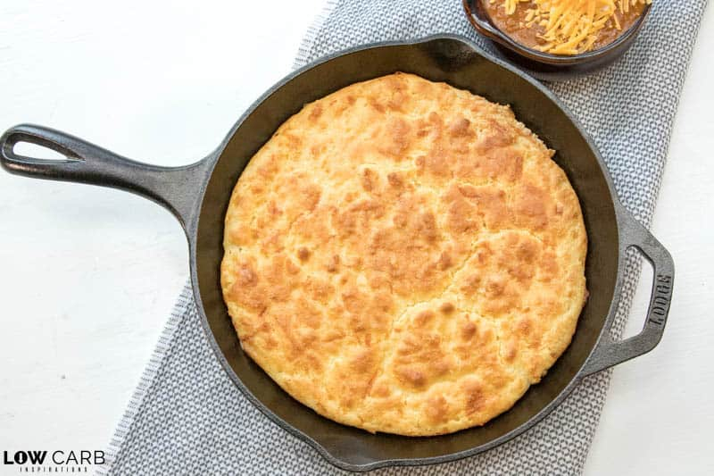 Keto Cornbead Recipe made in a cast iron skillet