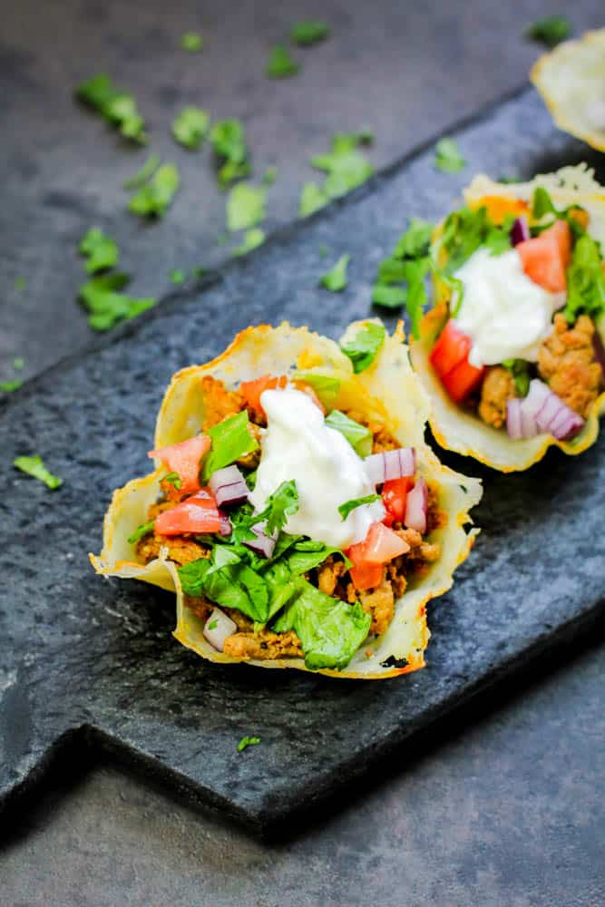 This is the easiest way to make these Keto Cheese Shell Taco Cups! We have also included a secret ingredient in our homemade keto taco seasoning recipe too!