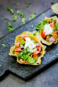 Keto Cheese Shell Taco Cups on a tray