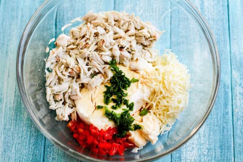 Keto Crab Rangoon Dip ingredients in bowl
