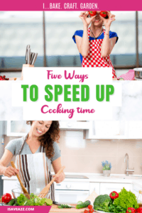 Woman cooking in kitchen cutting vegetables