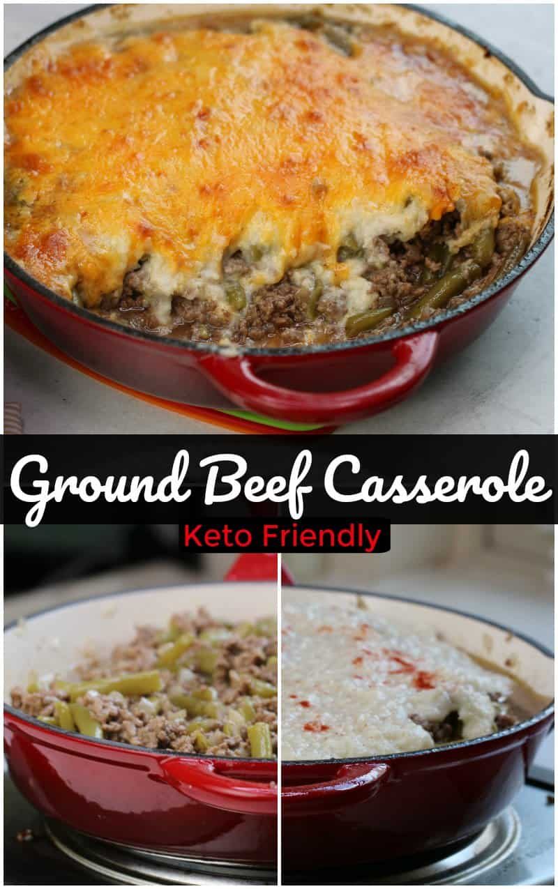Keto Ground Beef Casserole made with a cheesy topping