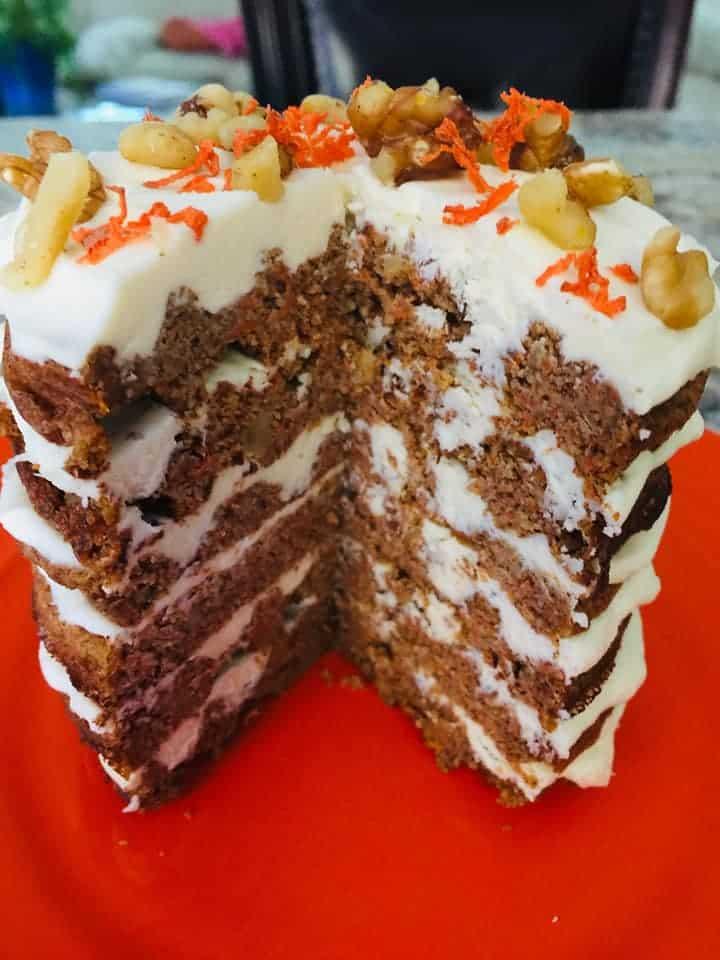 Carrot Chaffle Cake cut