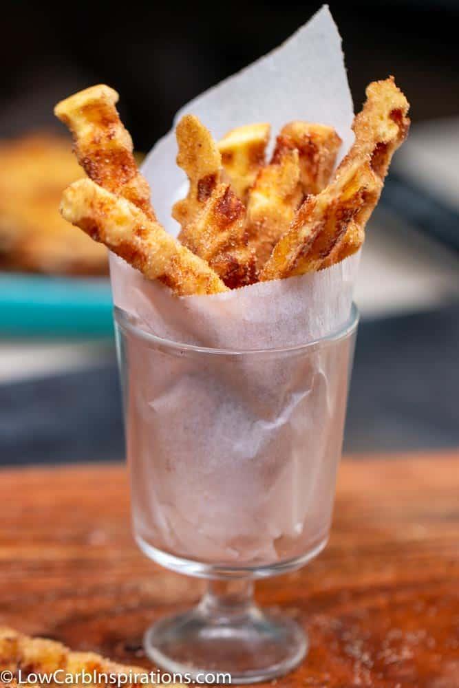 Keto Chaffle Churro Recipe made with no sugar!