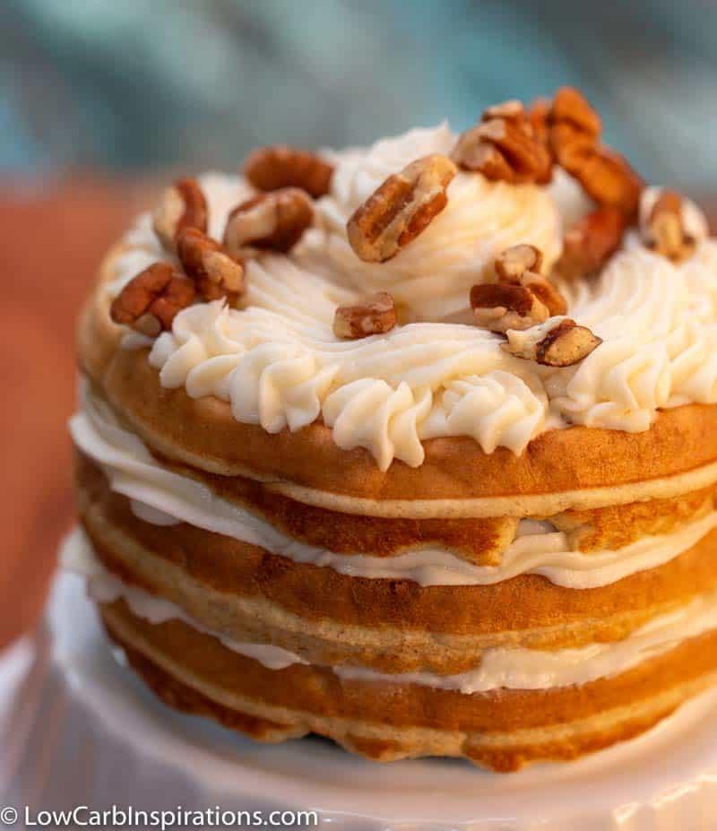 Keto Italian Cream Cake Chaffle Recipe served on a white plate