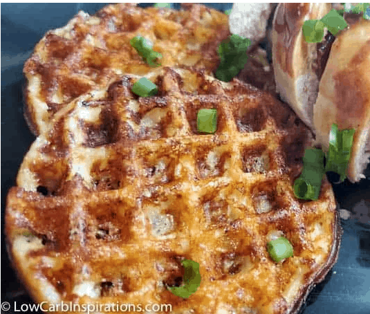 Chicken and waffles made with a keto chaffle recipe
