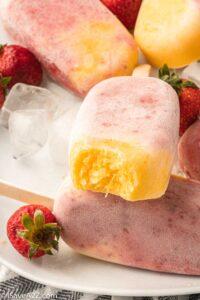 Mango Strawberry Creamy Yogurt Popsicles