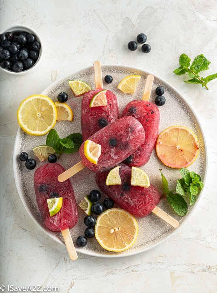 Low Carb Blueberry Lemonade Popsicles
